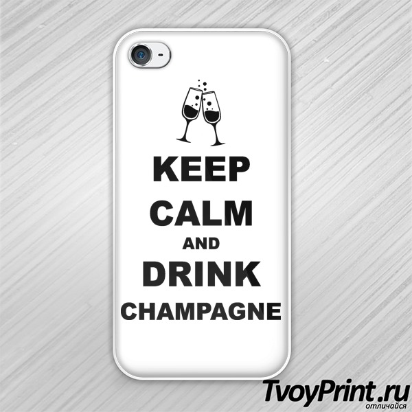 Чехол iPhone 4S keep calm and drink champagne