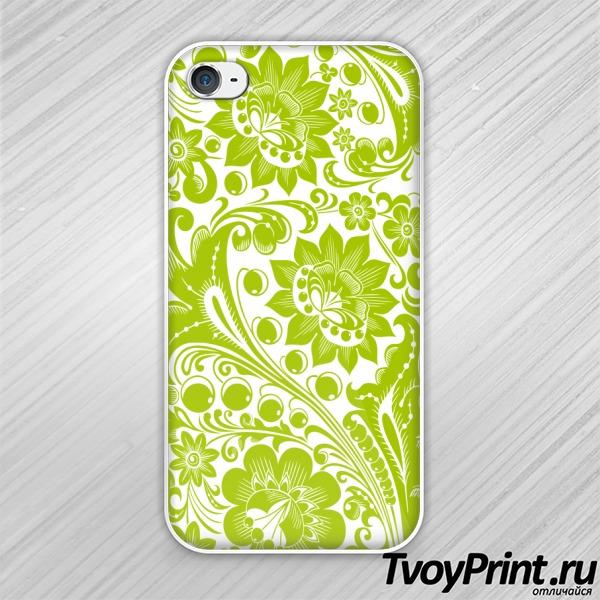Чехол iPhone 4S Хохлома white-green