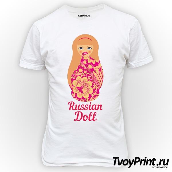 Футболка Матрешка блондинка pink