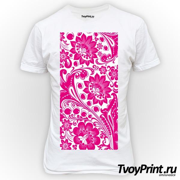 Футболка Хохлома white-pink