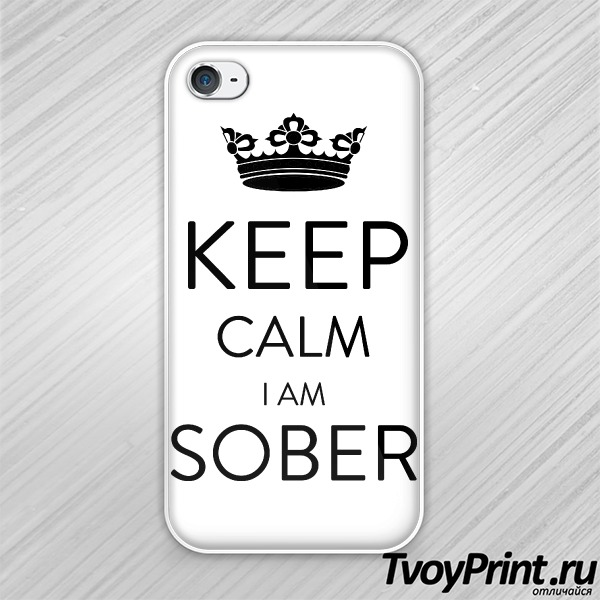 Чехол iPhone 4S Keep calm Im sober