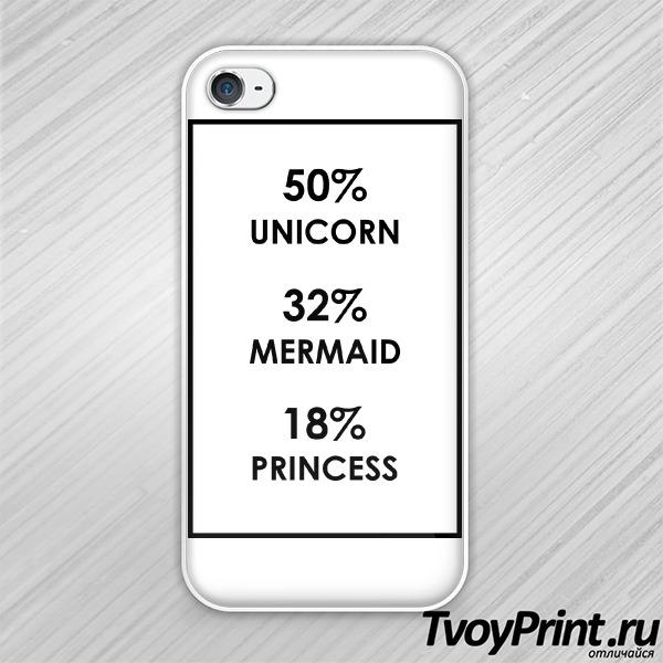 Чехол iPhone 4S Единорог, русалка, принцесса