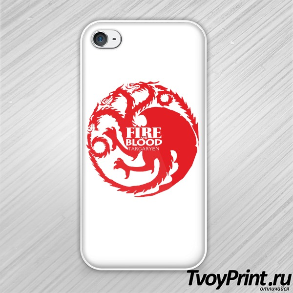 Чехол iPhone 4S Игра престолов (Fire and Blood)