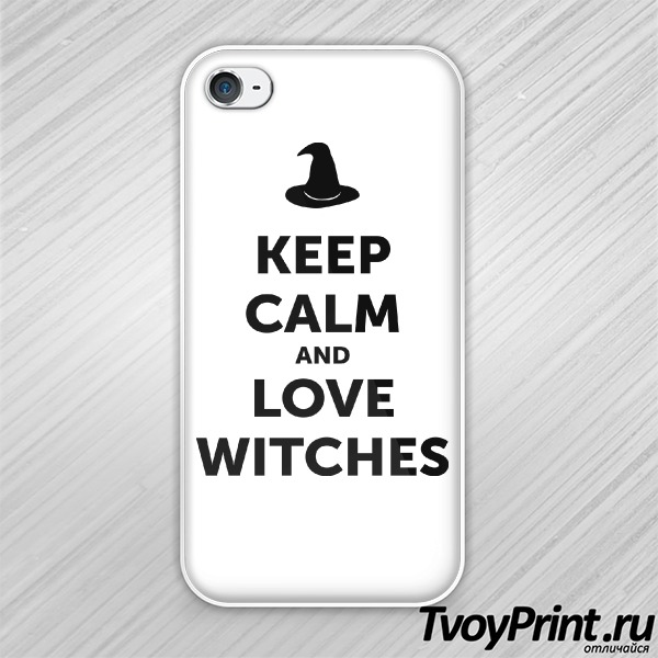 Чехол iPhone 4S Keep calm and love witches