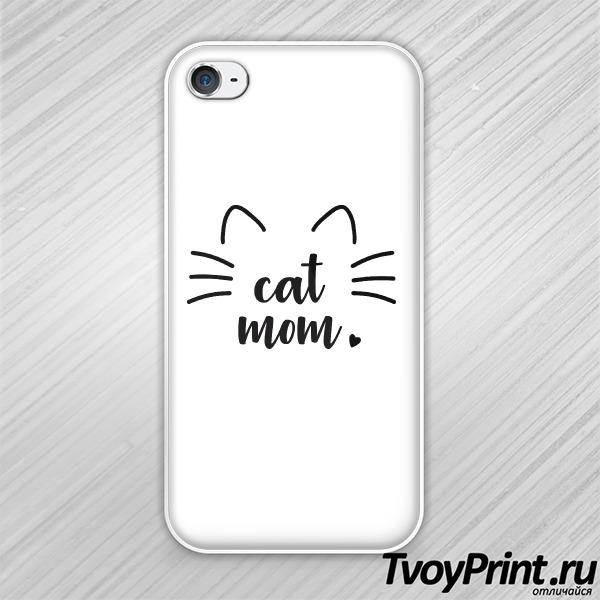 Чехол iPhone 4S Cat mom