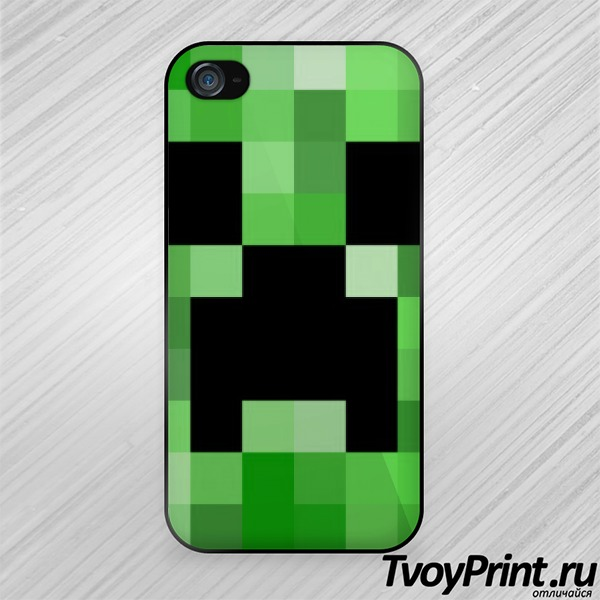 Чехол iPhone 4S Майнкрафт Лицо Крипера