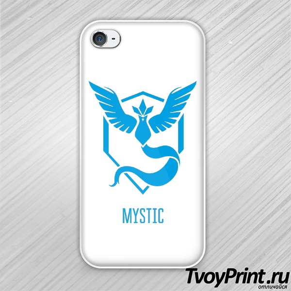Чехол iPhone 4S Blue Team Mystic Pokemon Go Синяя команда