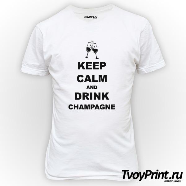 Футболка keep calm and drink champagne