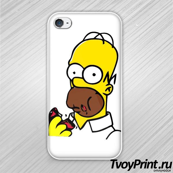 Чехол iPhone 4S Гомер с пончиком