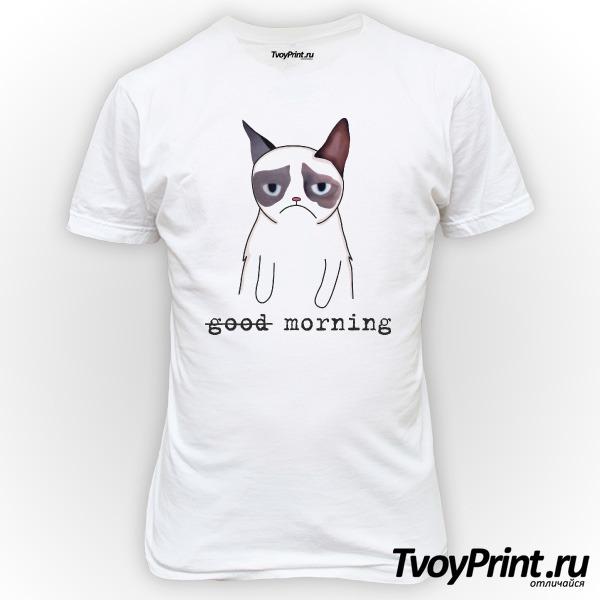 Футболка Грустный кот Недоброе утро