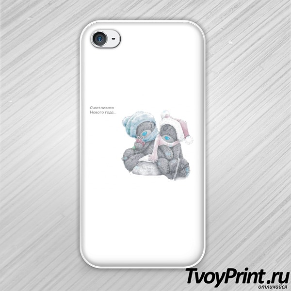 Чехол iPhone 4S Новогодние мишки Тедди