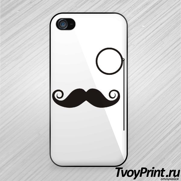 Чехол iPhone 4S Усы и монокль