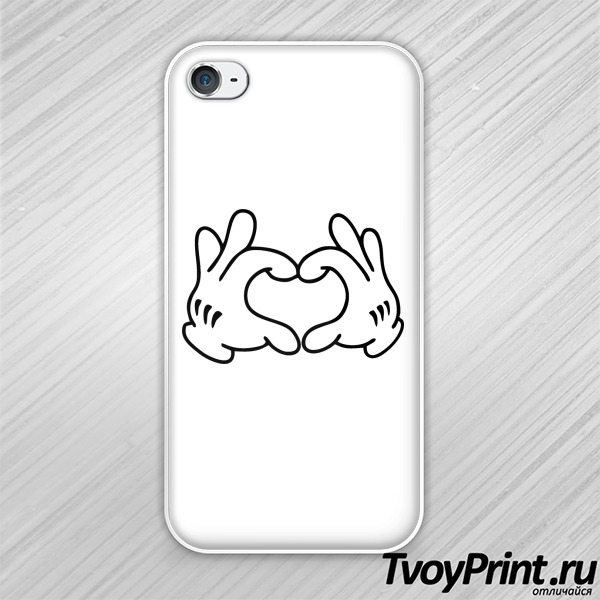 Чехол iPhone 4S love микки