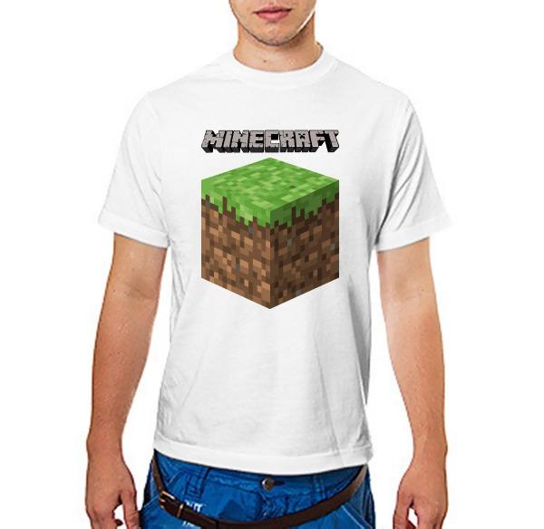 Футболка Майнкрафт Логотип с Блоком Земли