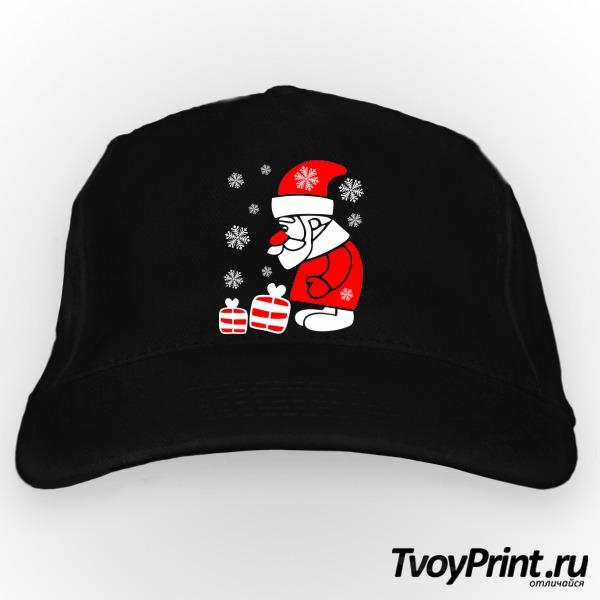 Бейсболка Дед Мороз смотрит на подарочки