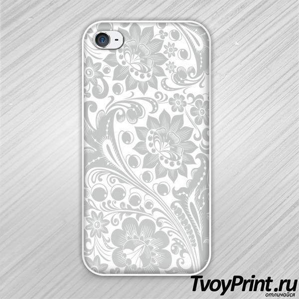 Чехол iPhone 4S Хохлома white-gray