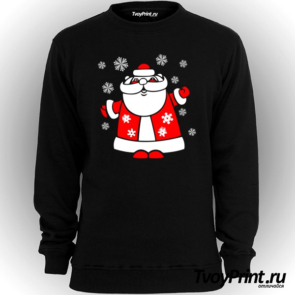 Свитшот Дед Мороз со снежинками