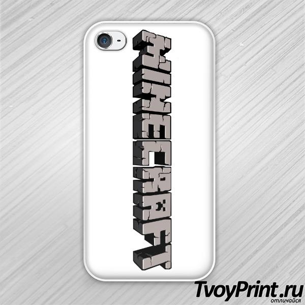 Чехол iPhone 4S Майнкрафт Логотип Серый