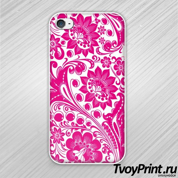 Чехол iPhone 4S Хохлома white-pink