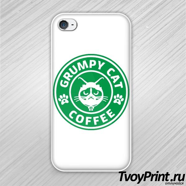 Чехол iPhone 4S Grumpy Cat Coffee