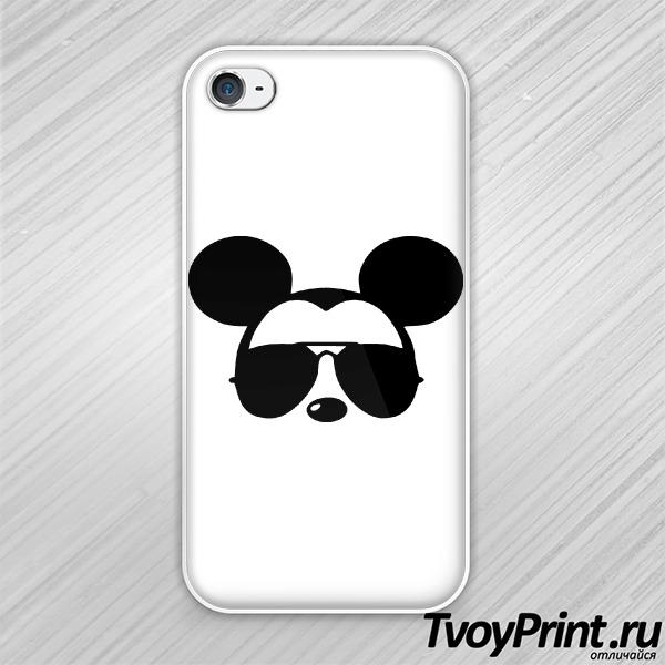 Чехол iPhone 4S Микки маус в очках