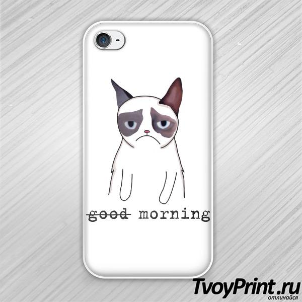 Чехол iPhone 4S Грустный кот Недоброе утро