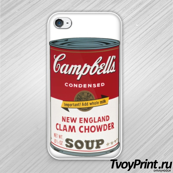 Чехол iPhone 4S Andy Warhol campbell soup